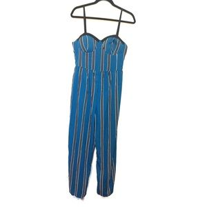 Band of Gypsies Blue Striped Sleeveless Jumpsuit